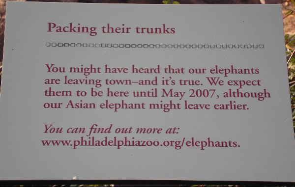 Elephants Leaving May 2007 sign