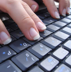 Typist On Keyboard