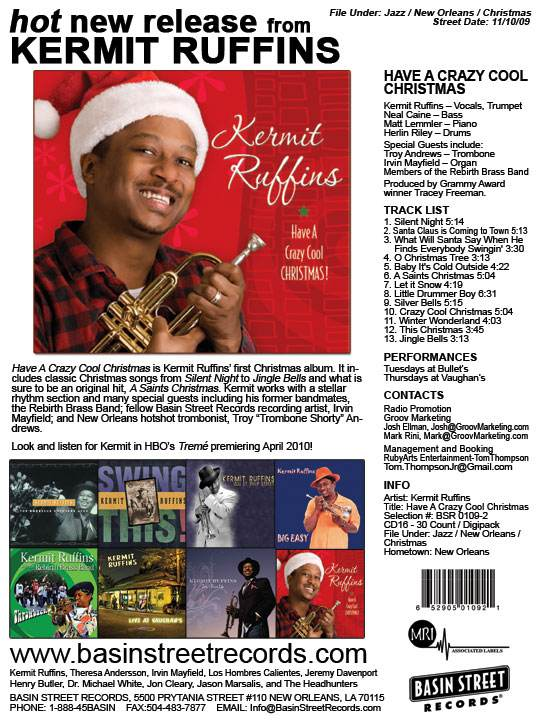 Kermit Ruffins Have A Crazy Cool Christmas coming November 10 2009