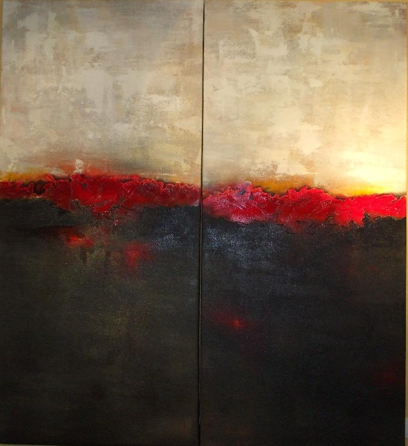 Red Horizon I & II by Cynthia Powell