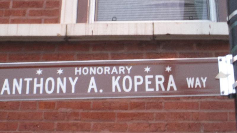 street sign for Tony Kopera