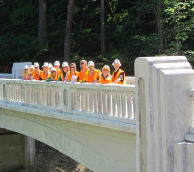 Travel Oregon staff gets a sneak preview of the new State Trail's McCord Creek Bridge