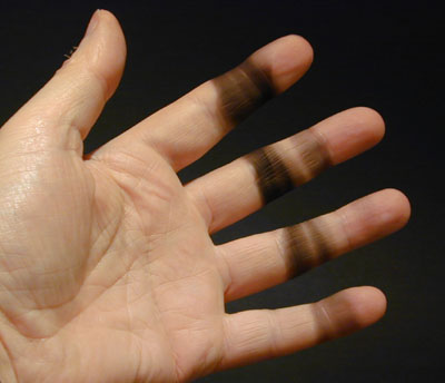 soot on hand