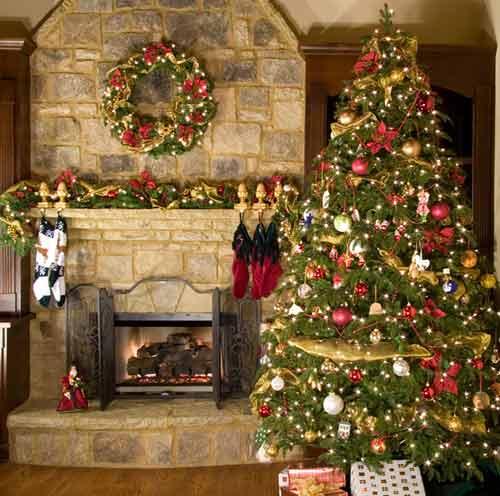 home Christmas tree with lights