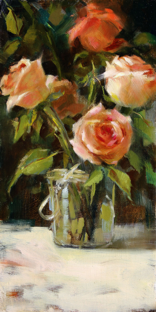 Blushing, oil painting of roses