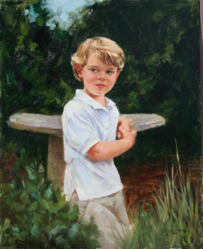 Oil portrait of young boy