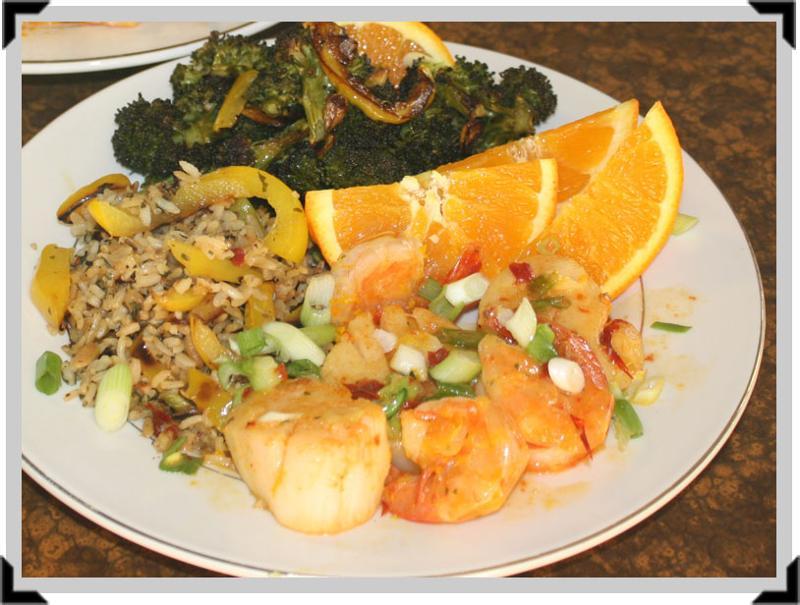 Scallops, Broccoli, Rice