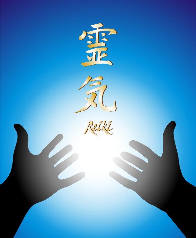 Reiki Healing Hands with Blue Light