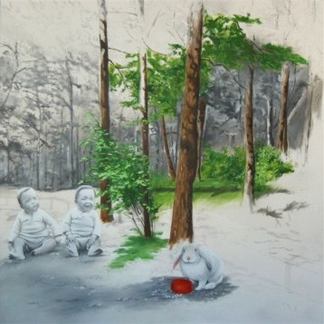 Corinne Charton, Solitary Meal, oil on canvas, 90 x 90cm
