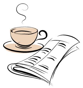 coffee and newsletter icon