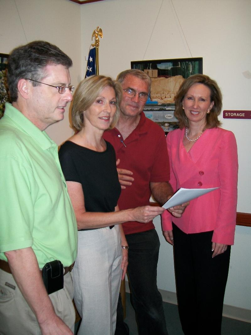 Delegate Comstock (right) with (left to right) Rob Jackson, President of the McLean Citizens Association, Joan Barnes and Eric Kndusen, members of the Great Falls Citizens Association Transportation Committee. Joan Barnes and Eric Knudsen with Delegate Comstock