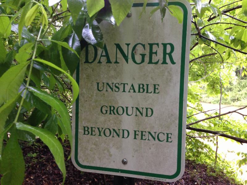 Danger Unstable Ground Sign