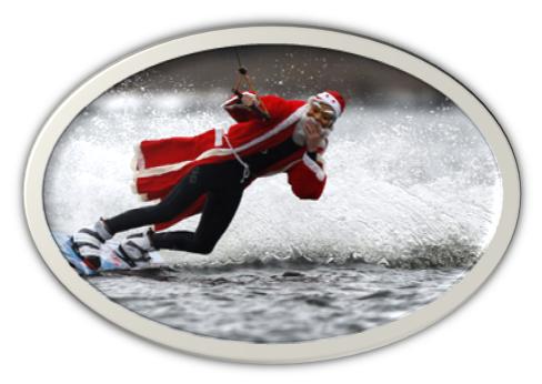 Santa on a wake board