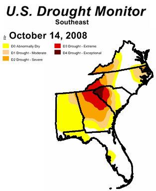 Southeast Drought Map Oct 2008