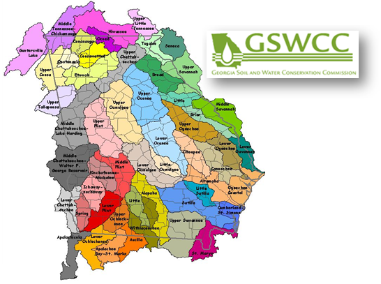 gaswcc logo and watershed map