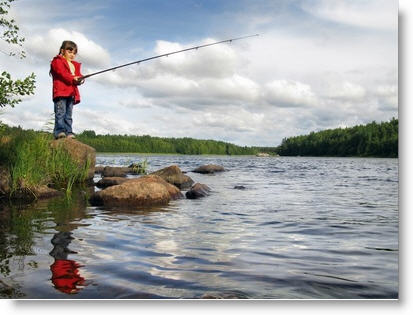 Little Girl Fishing in Lake