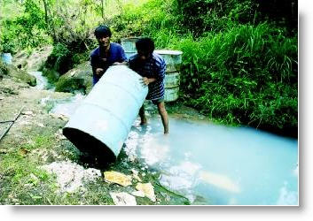 Chemicals poured in Stream