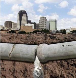 Shreveport broken sewer pipe