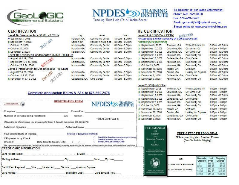 GeoLOGICs NPDES Training Institute Class Schedule