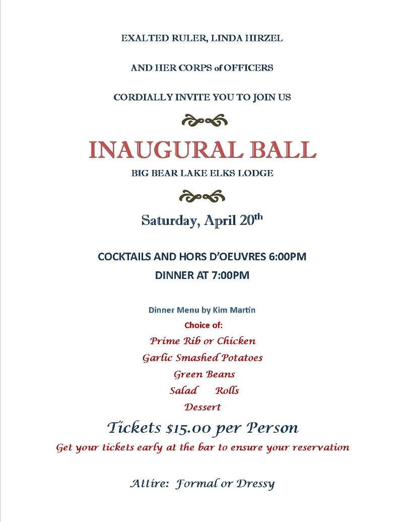 Save the Date! Inaugural Ball is April 20