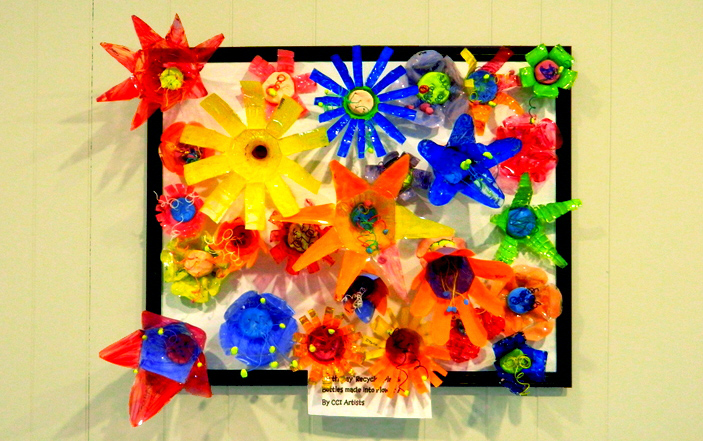 Up-cycled flower art