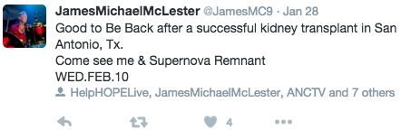 Tweet_ Homecoming show in honor of James Michael McLester.