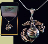 Eagle Globe and Anchor Necklace, Handcrafted in the USA by Veterans!