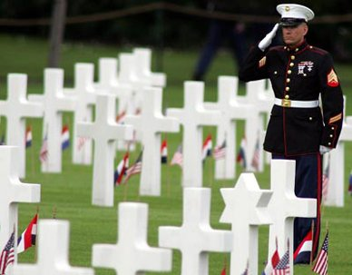 Marine saluting in cemetery