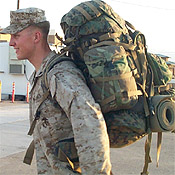 US Marine with Back Pack just returned from Iraq