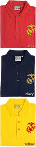 Eagle Globe and Anchor Embroidered Polos