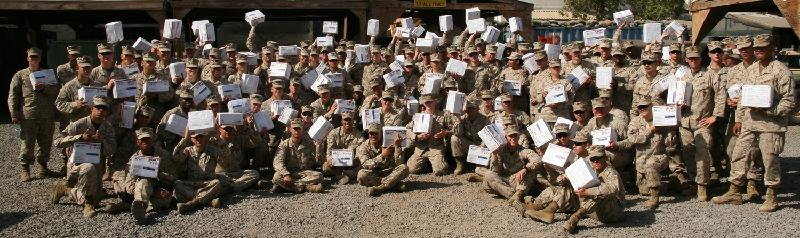 Marines with Care Packages from Marine Parents