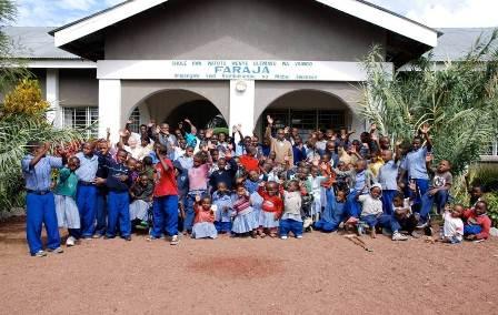 Faraja kids in front of school