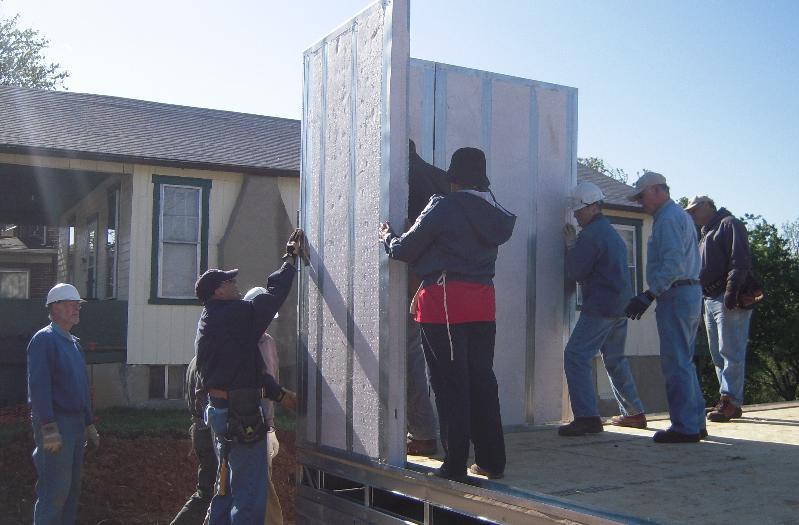 Habitat steel frame house raising