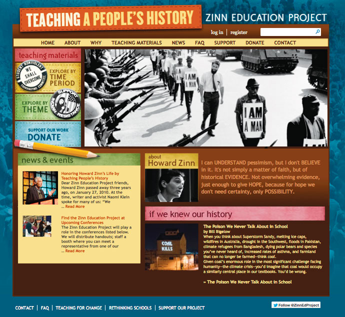 Zinn Education Project - New Homepage
