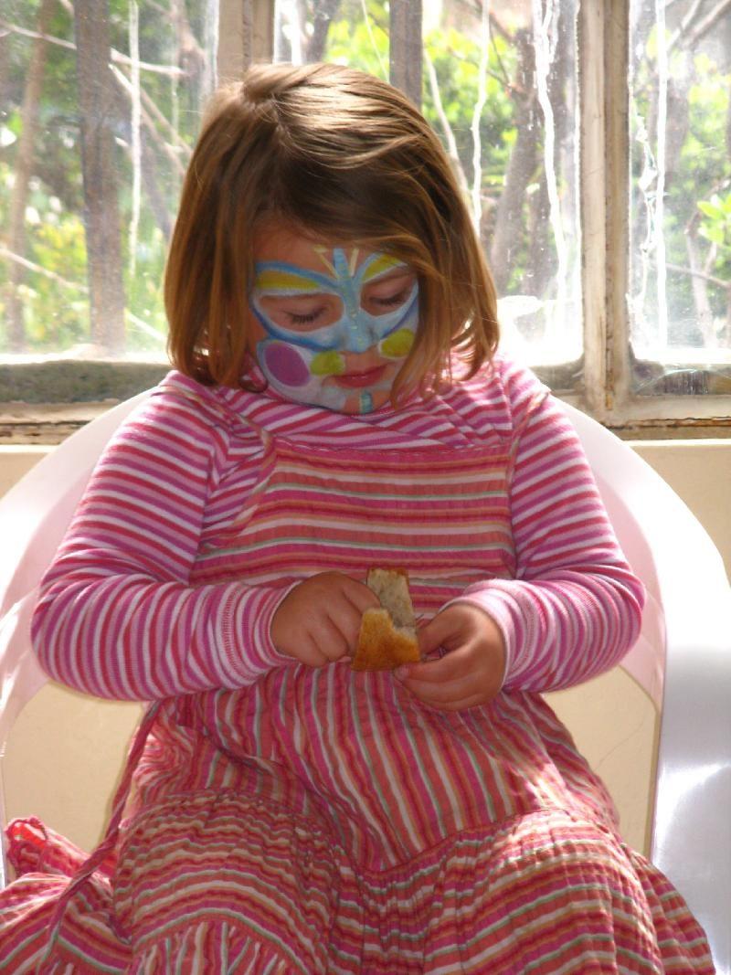 painted girl at wine tasting
