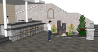 3D sketch of outdoor kitchen and water feature
