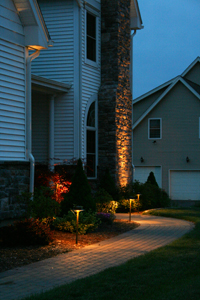 front walkway with landscape lighting