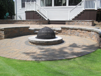 patio with sunken fire pit area
