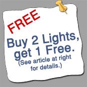 Buy 2 light fixtures, get 1 fixture free.