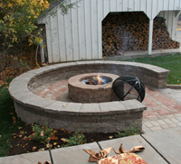 Techo-Bloc fire pit and patio