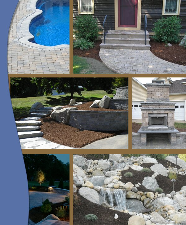 collage of paver and wall projects