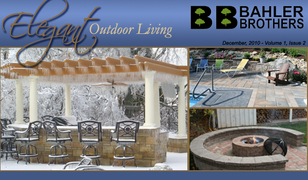 Bahler Brothers header showing a winter dressed patio