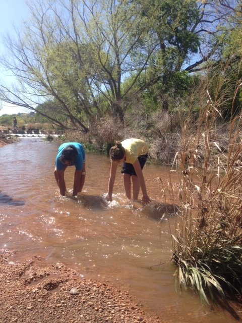enchanted rock - girls in creek