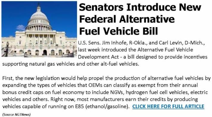 Senators Introduce New Federal Alternative Fuel Vehicle Bill
