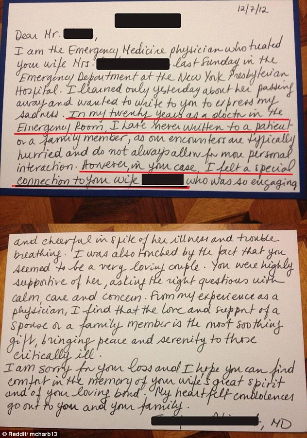 ER Doctor Condolence Letter