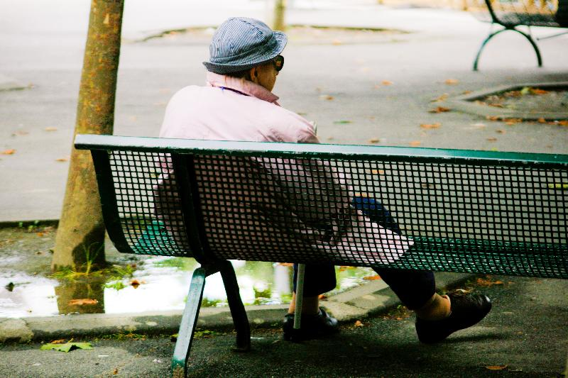 old woman on bench
