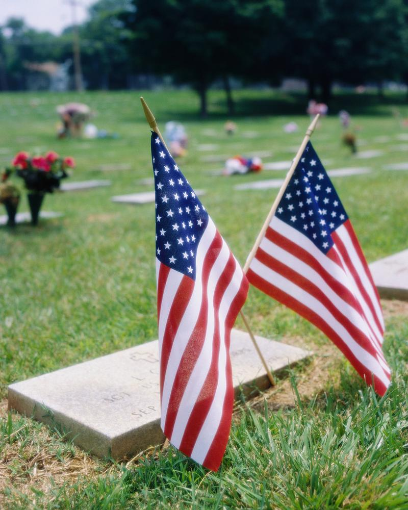 flags on grave