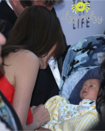 Itzy Ritzy_Infant Car Seat Cover_Angelina Jolie_Tree Of Life Premiere3
