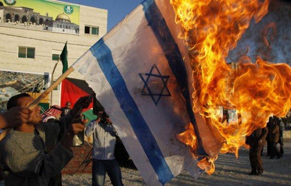 flag israeli burned