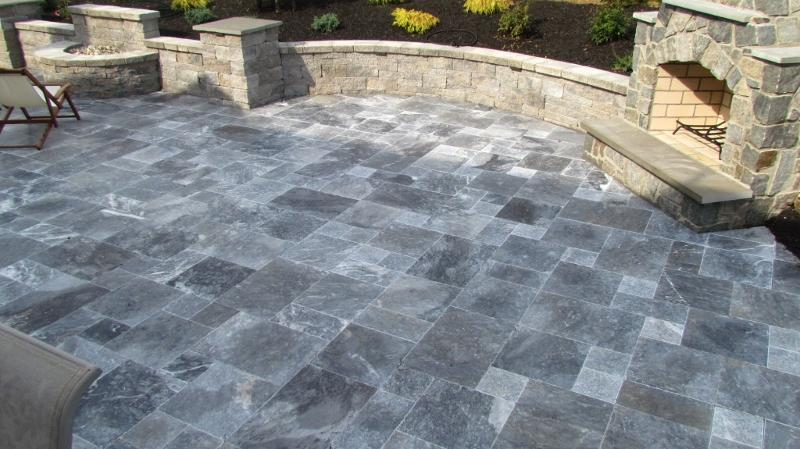 Antique Blue Marble French Pattern Tumbled Pavers